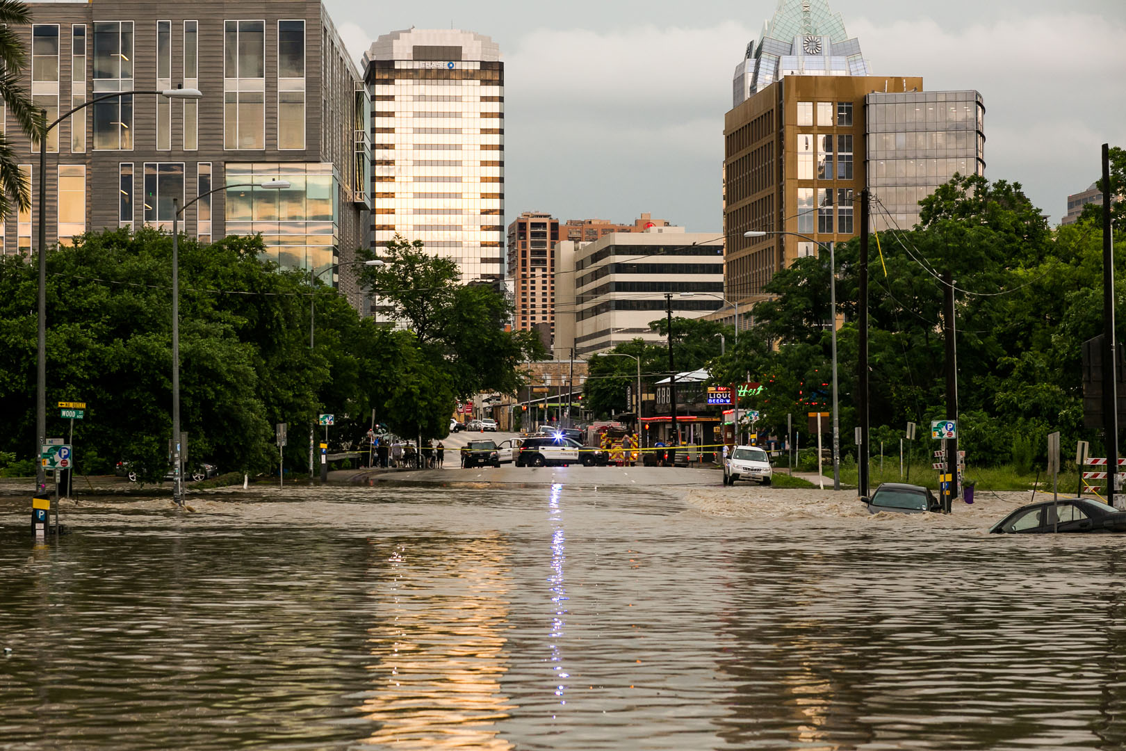 AUSTIN, TX - MAY 25:   Parts of the city are shown inundated after days of heavy rain on May 25, 2015 in Austin, Texas. Texas Gov. Greg Abbott toured the damage zone where one person is confirmed dead and at least 12 others missing in flooding along the Rio Blanco, which reports say rose as much as 40 feet in places, caused by more than 10 inches of rain over a four-day period. The governor earlier declared a state of emergency in 24 Texas counties.  (Photo by Drew Anthony Smith/Getty Images)