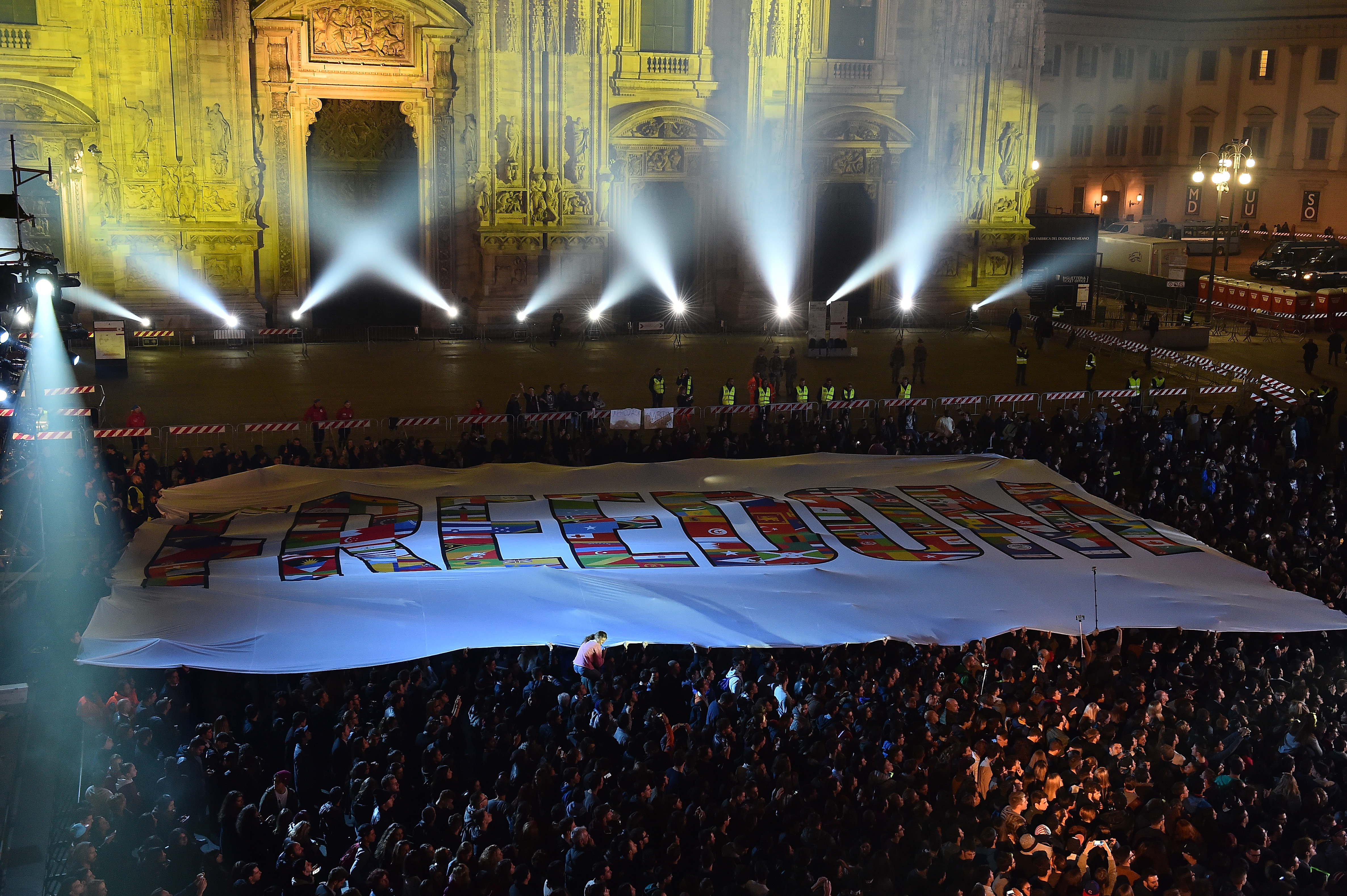 MILAN, ITALY - OCTOBER 25:  General view of freedom flag for Syria/refugee crisis at the outside broadcast during the MTV EMA's 2015 at Duomo on October 25, 2015 in Milan, Italy.  (Photo by Stefania D'Alessandro/MTV 2015/Getty Images for MTV)
