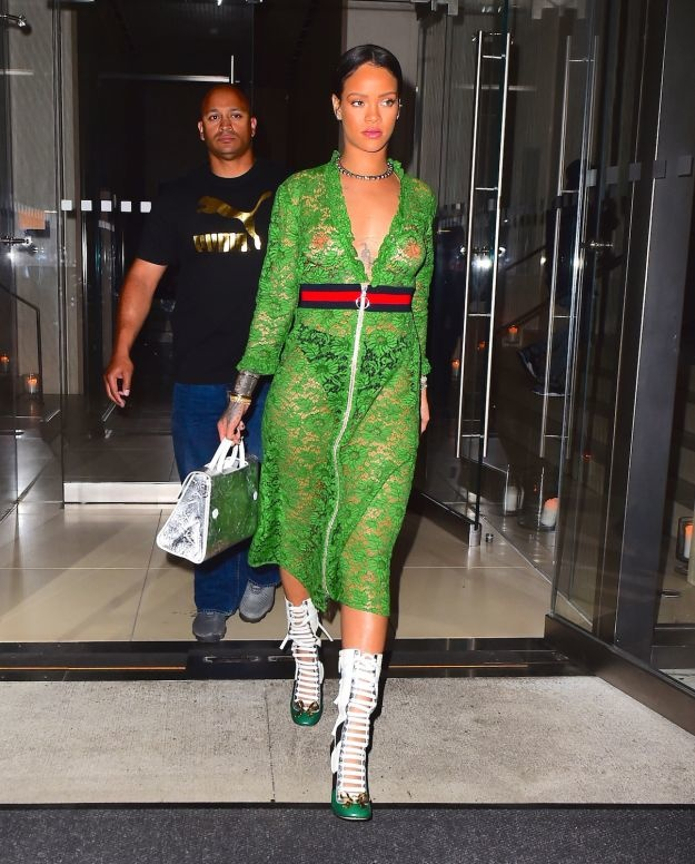 Rihanna was spotted out in NYC on Wednesday evening, as she headed to dinner with family at the Edition Hotel. The singer put on a stunning display in Gucci SS16, wearing a green, lace dress. Pictured: Rihanna Ref: SPL1291404 260516 Picture by: 247PAPS.TV / Splash News Splash News and Pictures Los Angeles:310-821-2666 New York: 212-619-2666 London: 870-934-2666 photodesk@splashnews.com