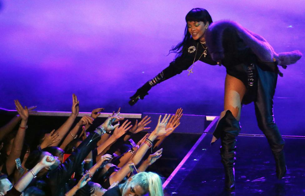 Rihanna performs. REUTERS/Lucas Jackson
