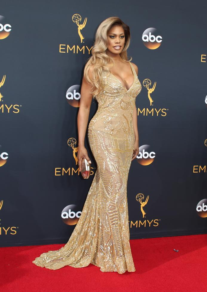 Actress Laverne Cox arrives at the 68th Primetime Emmy Awards in Los Angeles, California