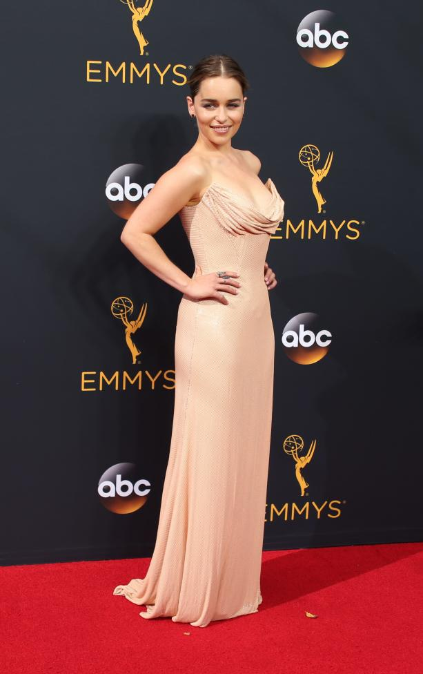 "Actress Emilia Clarke from the HBO series ""Game of Thrones"" arrives at the 68th Primetime Emmy Awards in Los Angeles, California"