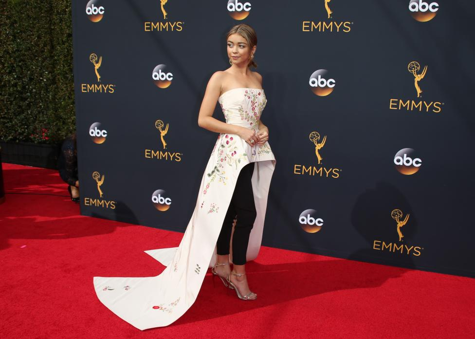 "Actress Sarah Hyland from the ABC series ""Modern Family"" arrives at the 68th Primetime Emmy Awards in Los Angeles, California"