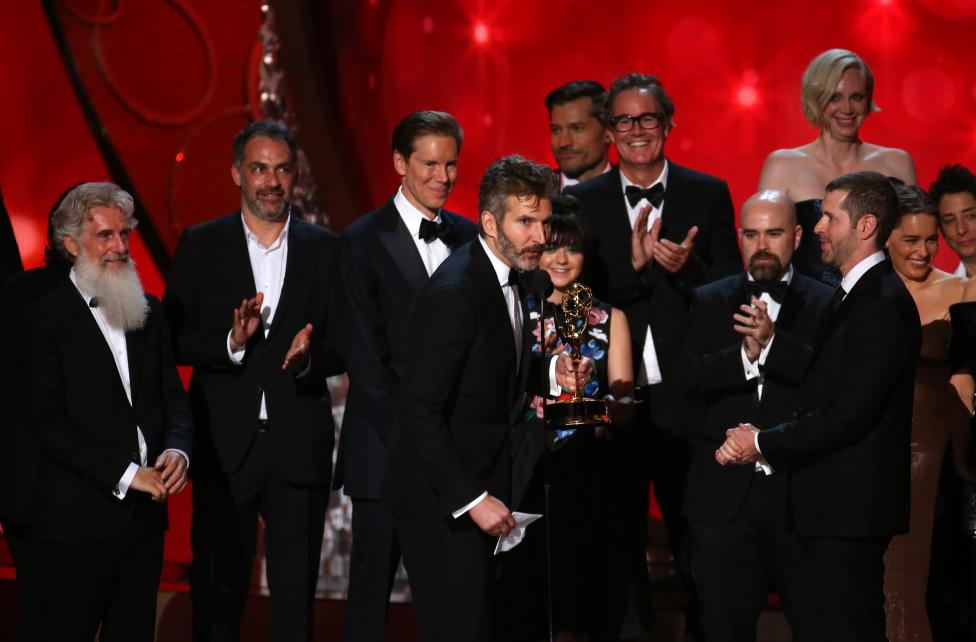 Executive Producers Benioff and Weiss accept the award for Oustanding Drama Series at the 68th Primetime Emmy Awards in Los Angeles