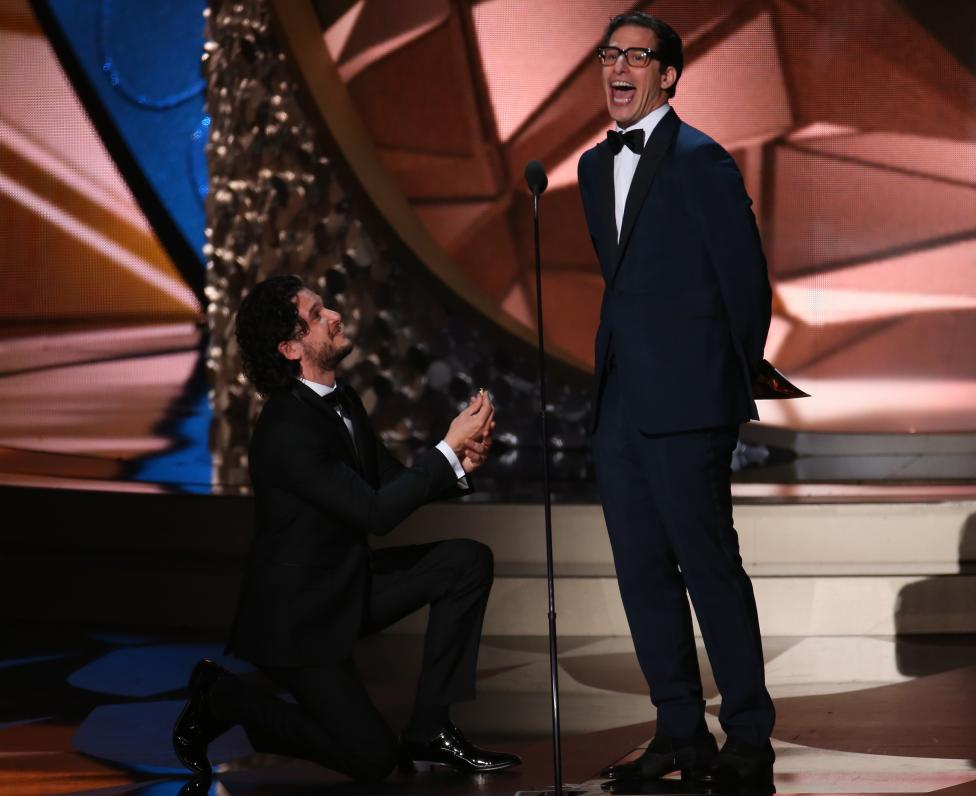 Harrington and Samberg act as they present an award at the 68th Primetime Emmy Awards in Los Angeles