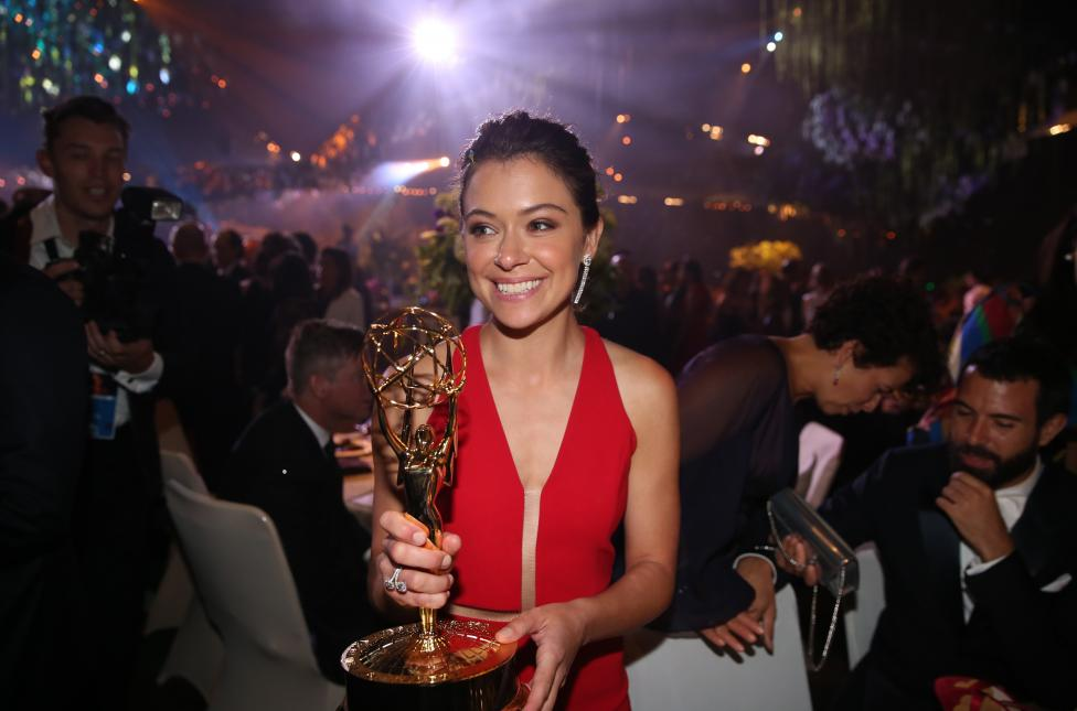 Actress Tatiana Maslany holds her award for Outstanding Lead Actress In A Drama Series as she mingles at the Governors Ball after the 68th Primetime Emmy Awards in Los Angeles
