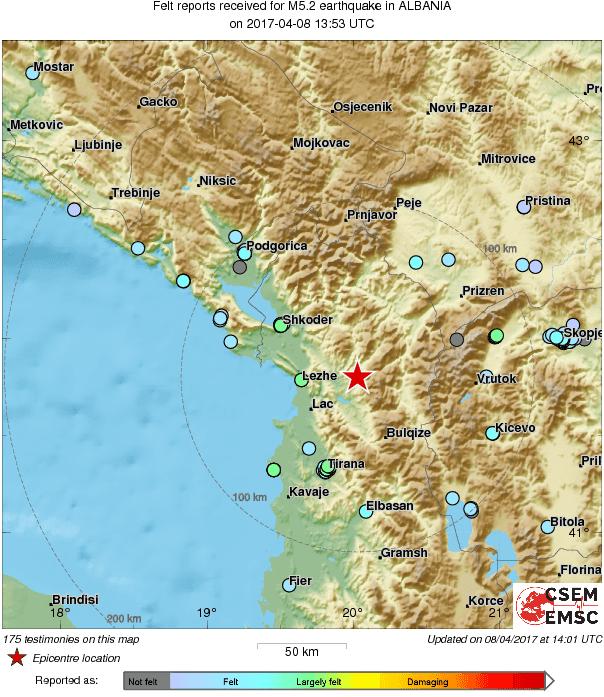 Земјотрес со јачина од 5.2 степени во Албанија - почувствуван и во Македонија