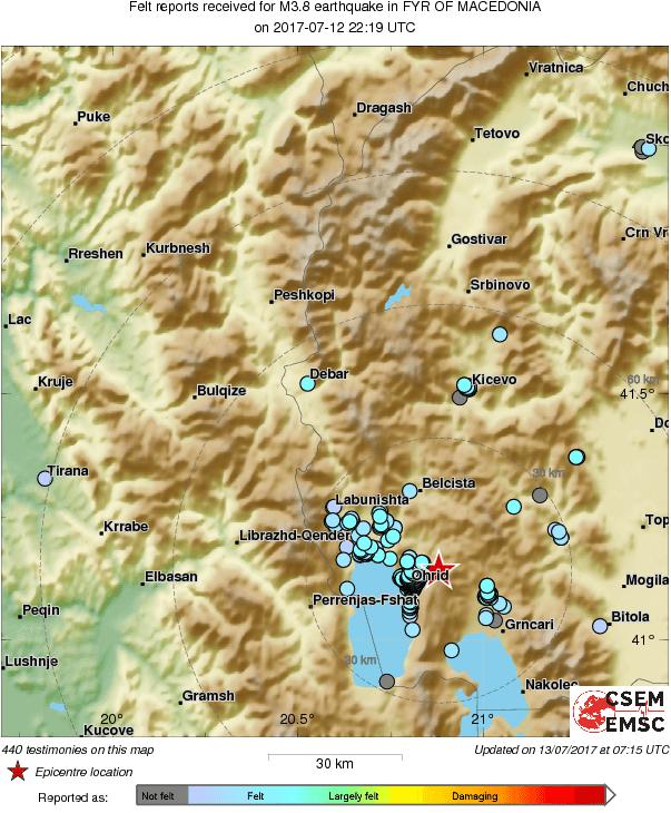 Нова серија земјотреси од 3.8 степени по Рихтер во Охридско