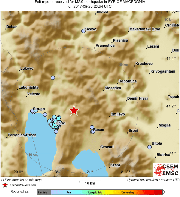 Почувствуван земјотрес во Охрид и Ресен